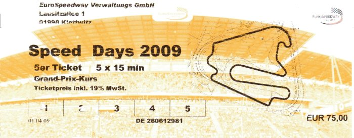 Speed Days 2009 - 5er Ticket [75,- EUR]
